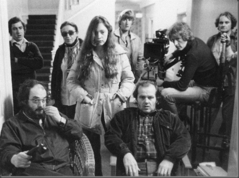 Vivian with The Shining cast and crew on set.